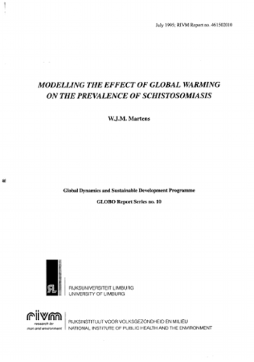 Modelling the effect of global warming on the prevalence of