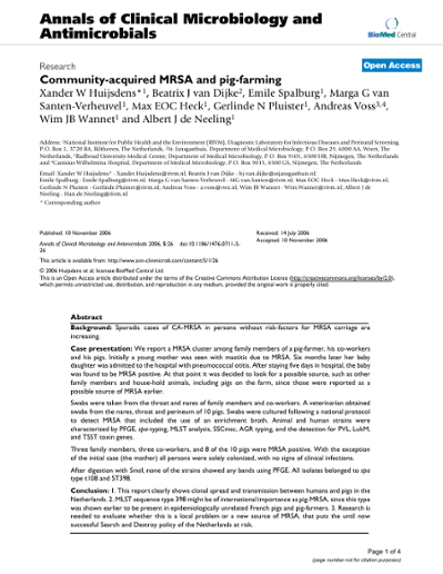 Community-acquired MRSA and pig-farming