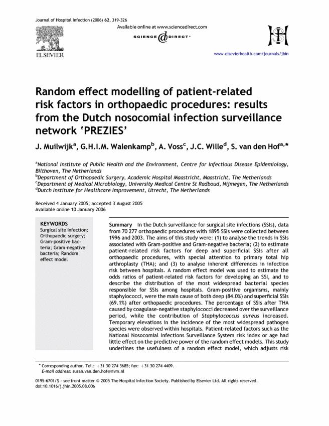 Random effect modelling of patient-related risk factors in